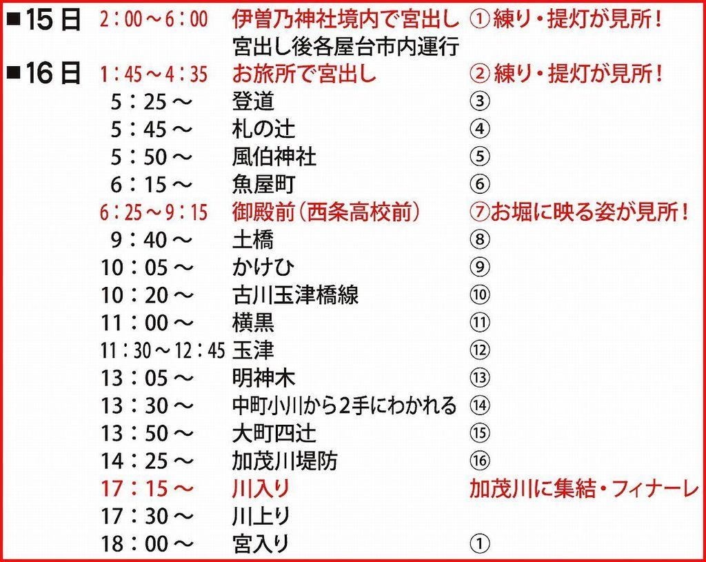 西条まつり2015 伊曽乃神社祭礼運行コース2